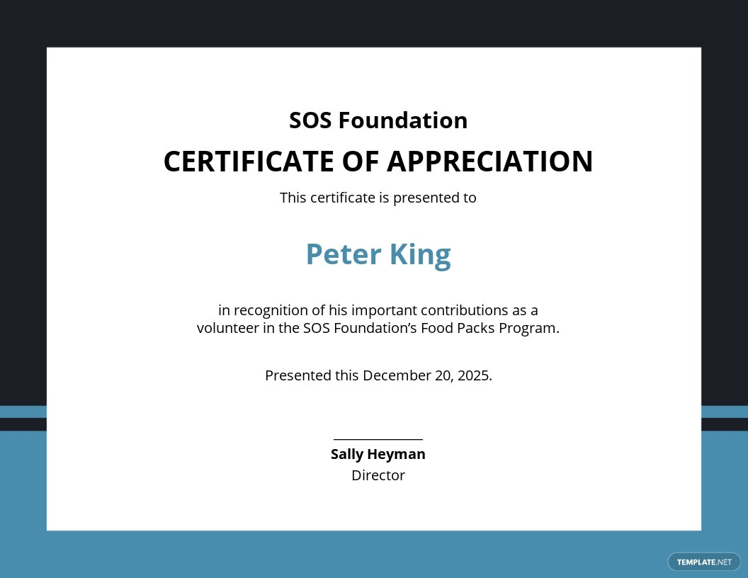 Volunteer Certificate of Appreciation Template