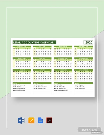 Retail Accounting Calendar Template