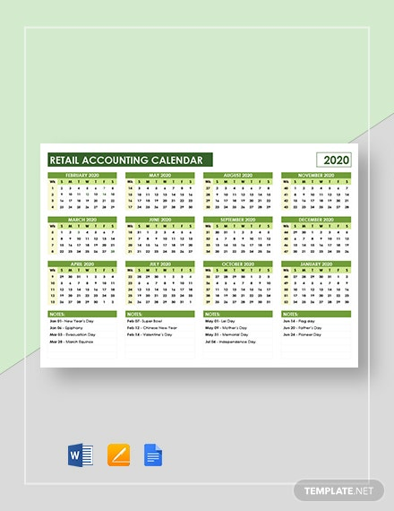 retail accounting calendar