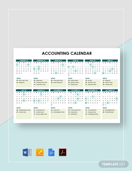 Simple Accounting Calendar Template