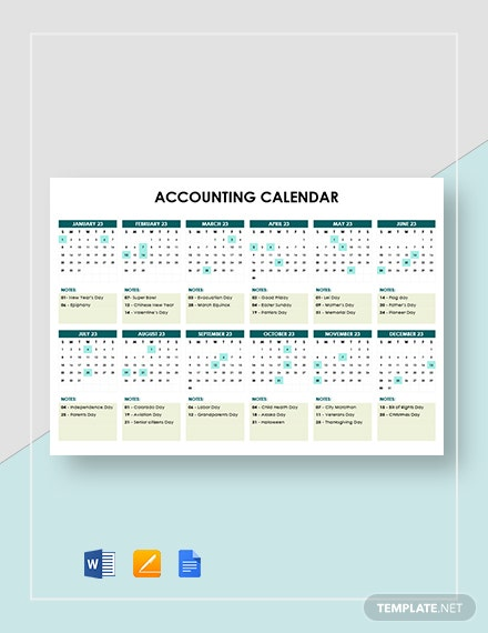 Simple Accounting Calendar Template