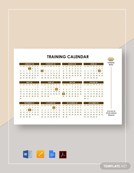 Printable Training Calendar Template