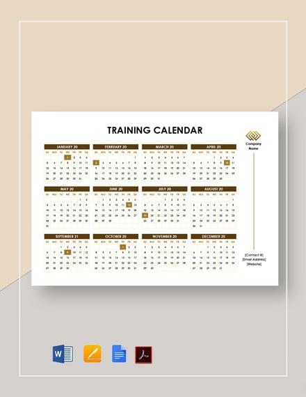 Printable Training Calendar