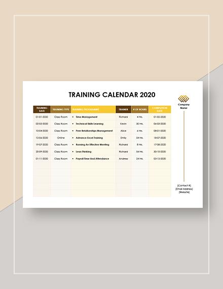 Printable Training Calendar Template