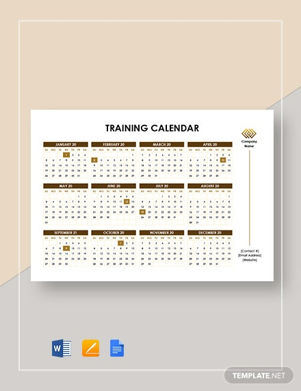 printable training calendar