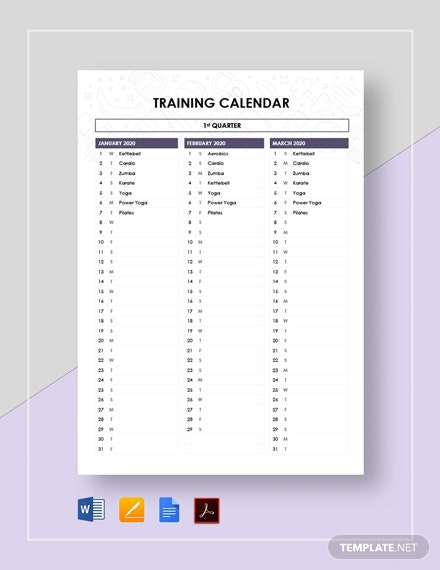 Sample Training Calendar Template [Free PDF] - Google Docs, Word, Apple Pages