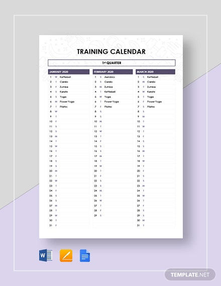 sample training calendar