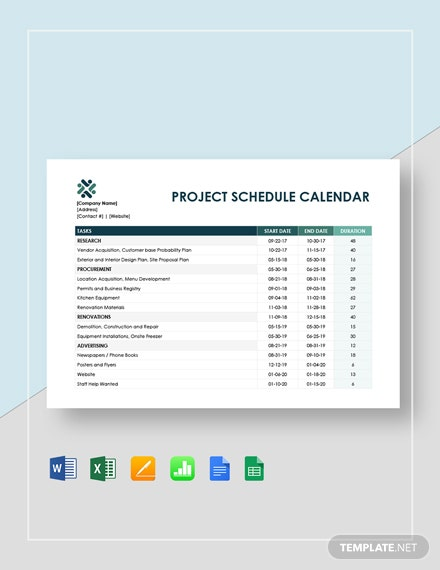 Project Schedule Calendar Template