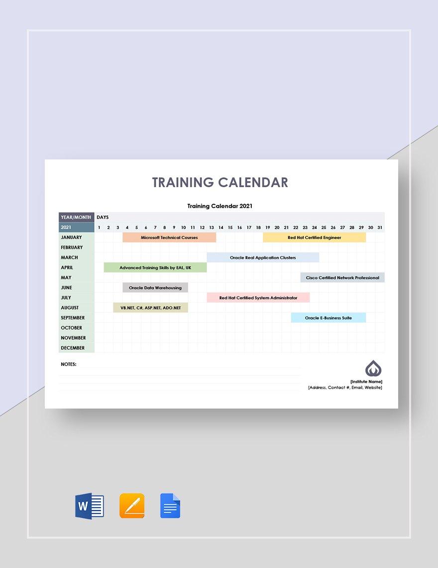 Training Calendar Template   30+ Samples & Formats