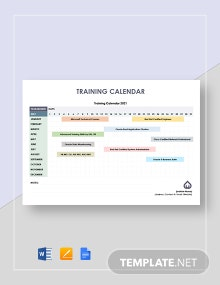 Training Calendar Template
