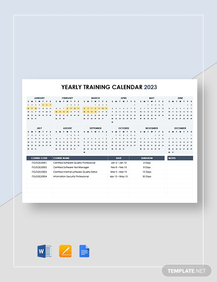 Yearly Training Calendar Template