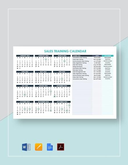 Sales Training Calendar