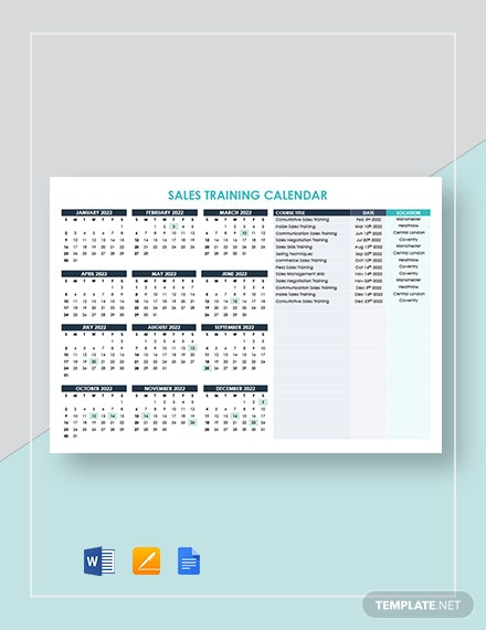 Sales Training Calendar Template