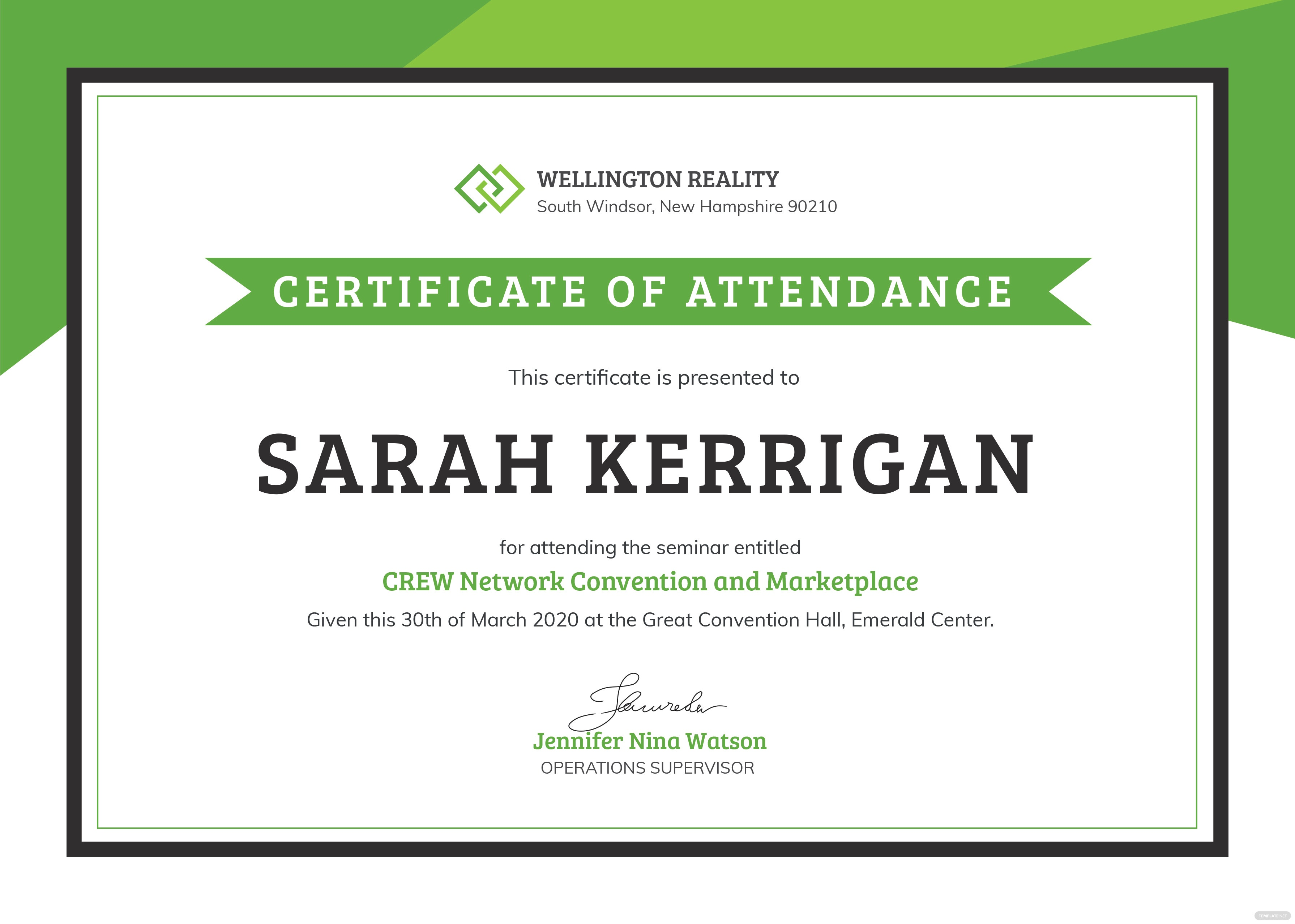 Free workshop attendance certificate template in adobe photoshop workshop attendance certificate yelopaper Image collections
