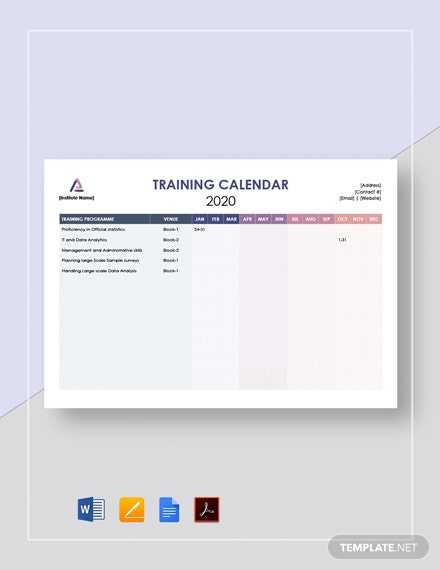 Blank Training Calendar Template [Free PDF] - Google Docs, Word, Apple Pages