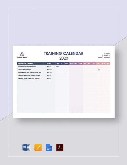 Blank Training Calendar