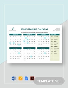 Sports Training Calendar Template