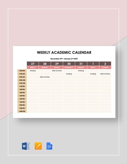 weekly academic calendar