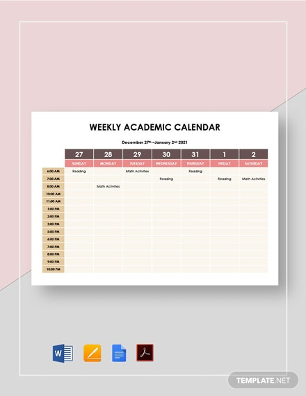 Weekly Academic Calendar Template