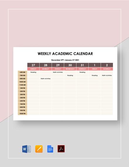 Weekly Academic Calendar Template