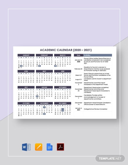 Editable Academic Calendar Template