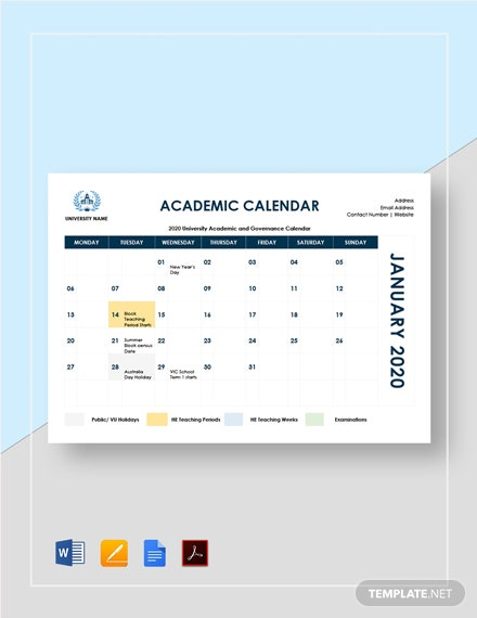 Sample Academic Calendar Template