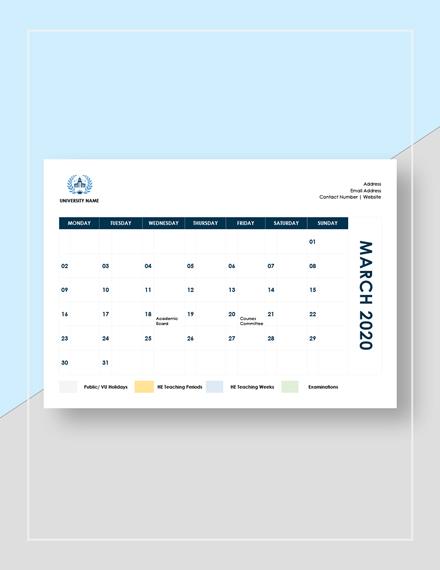 Sample Academic Calendar Download