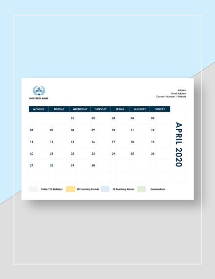 Sample Academic Calendar Example