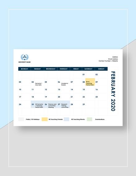 Sample Academic Calendar Template