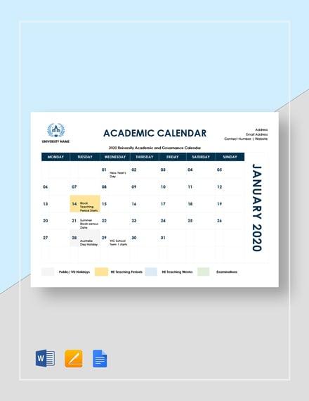 sample academic calendar