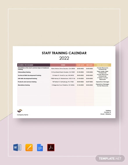 Staff Training Calendar Template
