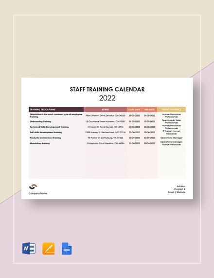 Staff Training Calendar Template