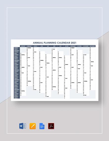 Annual Planning Calendar Template