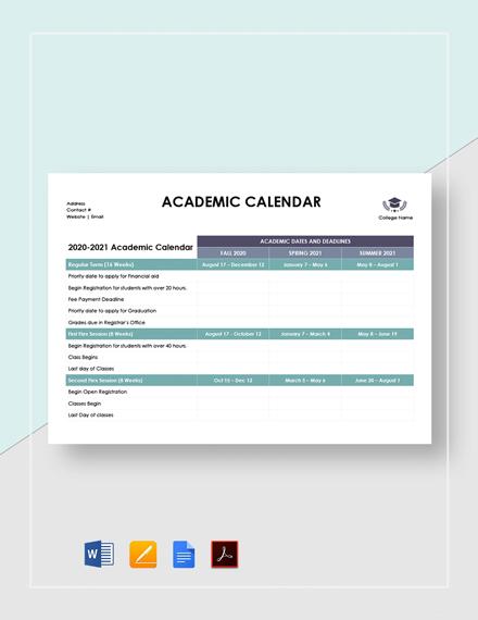Blank Academic Calendar Template