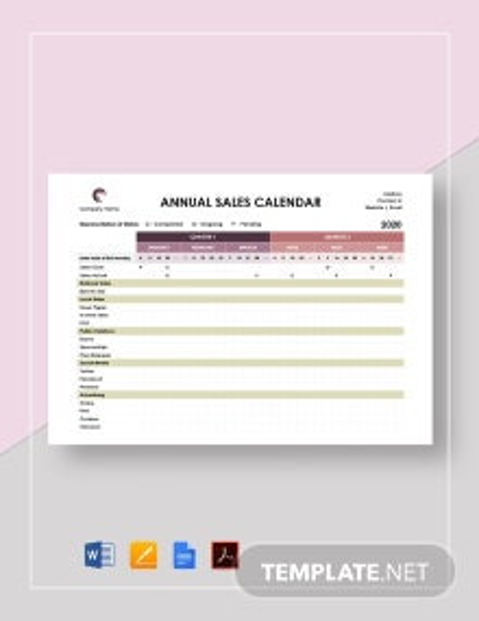 Annual Sales Calendar Template
