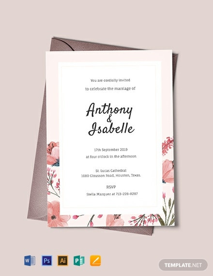 image about Wedding Stationery Printable referred to as Cost-free Blank Wedding ceremony Invitation Template - Term PSD