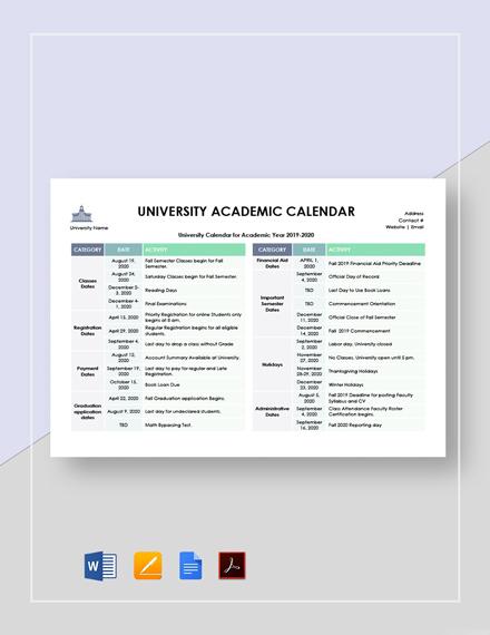 University Academic Calendar Template