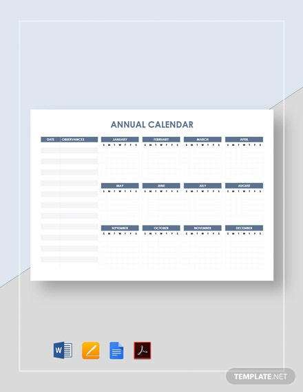 Blank Annual Calendar Template