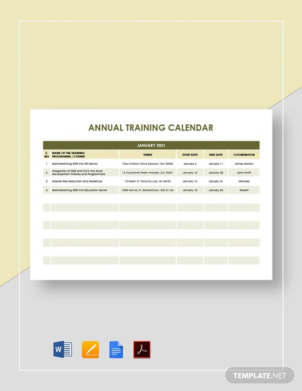 Annual Training Calendar Template