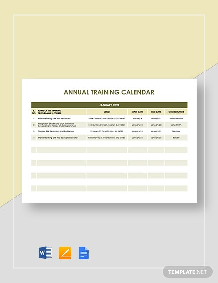 annual training calendar