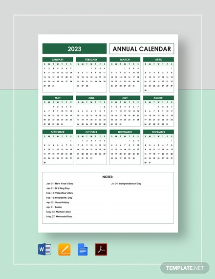 Editable Annual Calendar Template