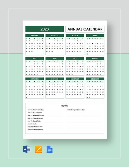 editable annual calendar