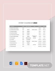 Printable Event Calendar Template