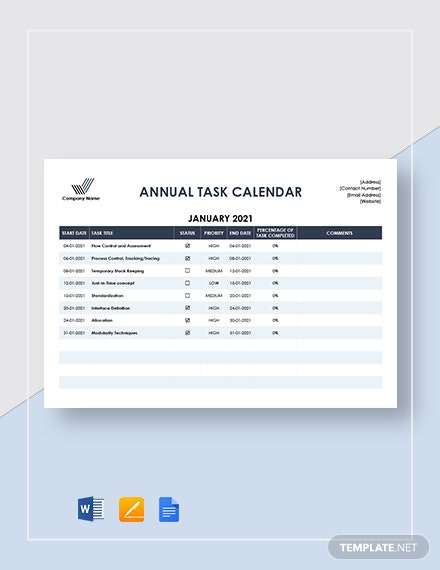 annual task calendar