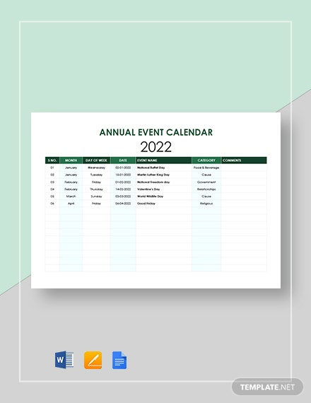 Annual Event Calendar Template