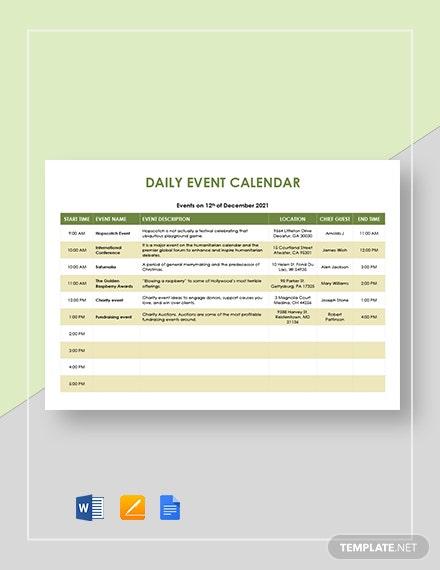 Daily Event Calendar Template