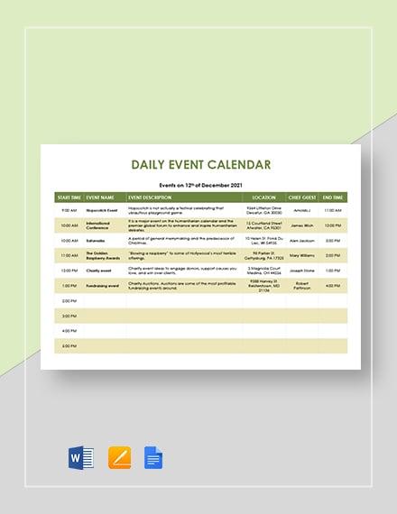 daily event calendar
