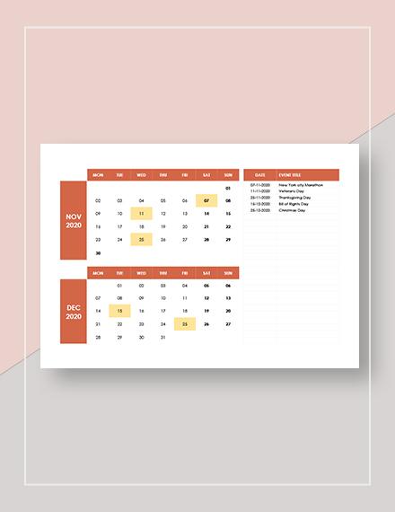 Basic Monthly Event Calendar