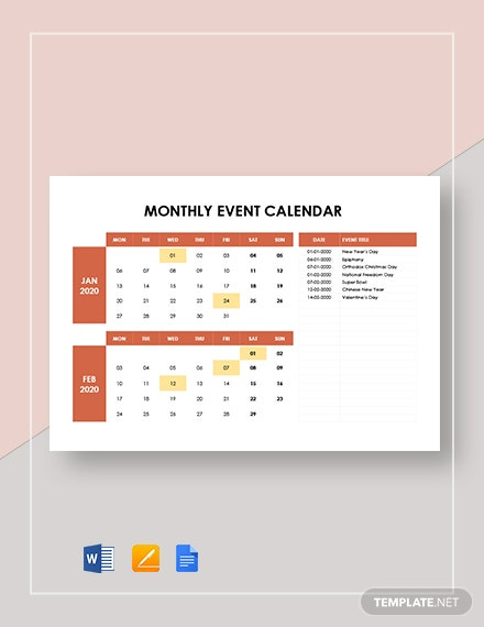 Monthly Event Calendar Template