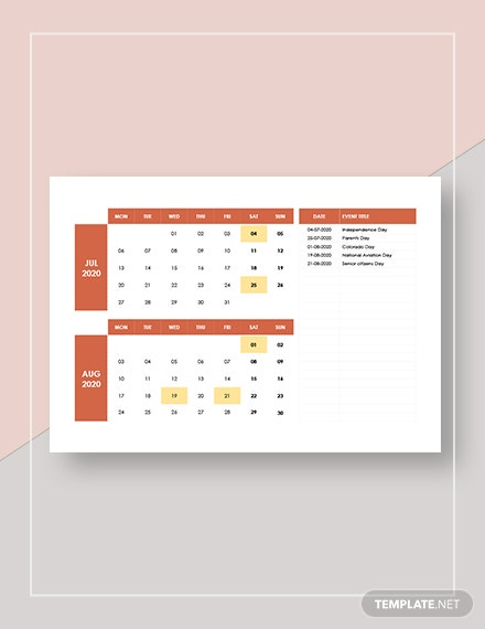 Sample Monthly Event Calendar